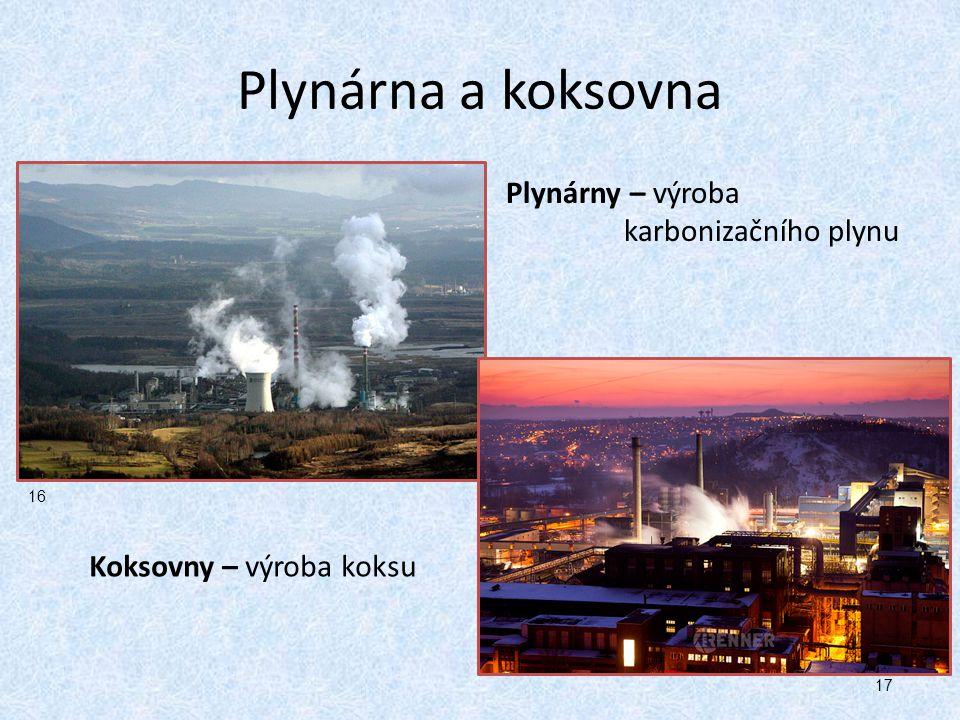 Plynárna a koksovna Plynárny – výroba karbonizačního plynu