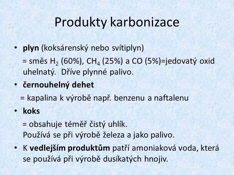 Produkty karbonizace plyn (koksárenský nebo svítiplyn)