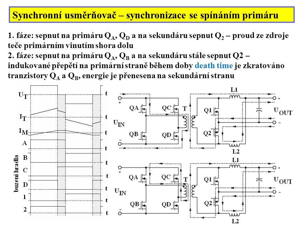 Synchronní usměrňovač – synchronizace se spínáním primáru
