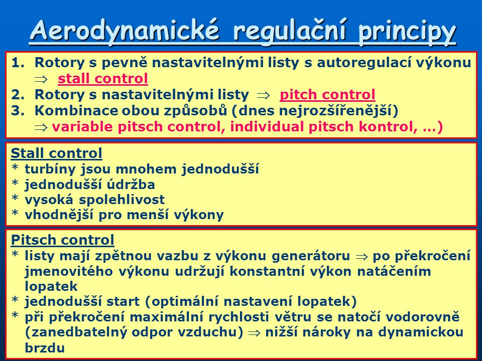 Aerodynamické regulační principy