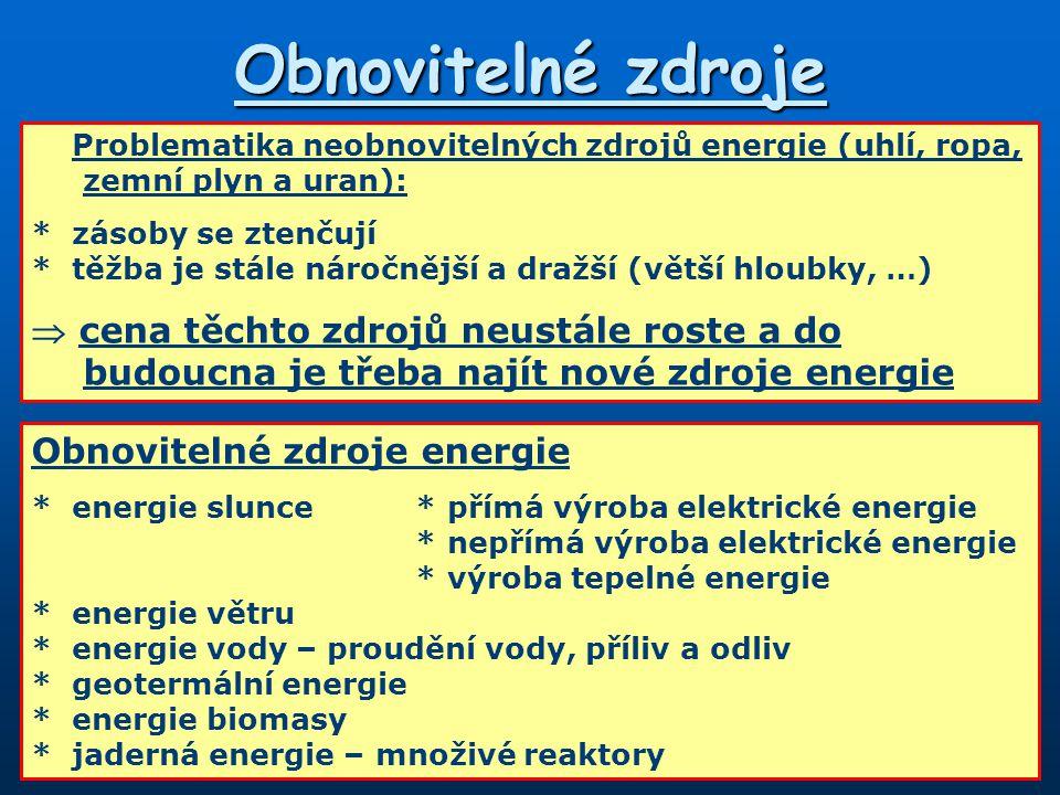 Obnovitelné zdroje Problematika neobnovitelných zdrojů energie (uhlí, ropa, zemní plyn a uran): * zásoby se ztenčují.