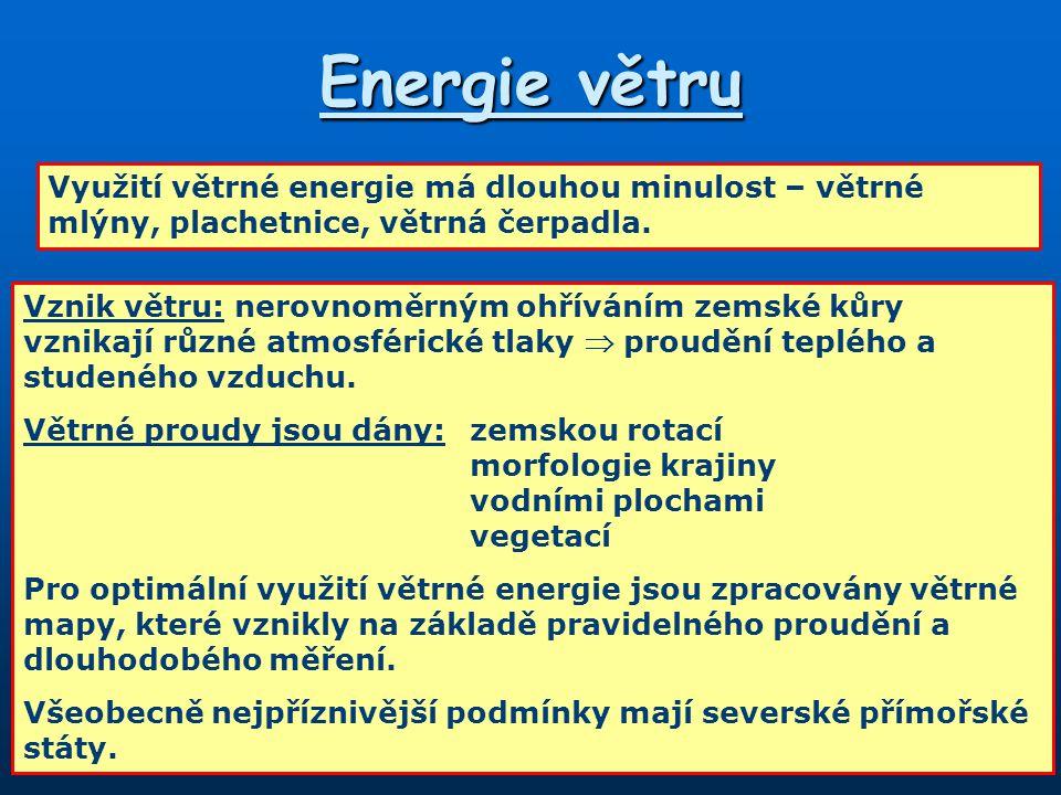 Energie větru Využití větrné energie má dlouhou minulost – větrné mlýny, plachetnice, větrná čerpadla.