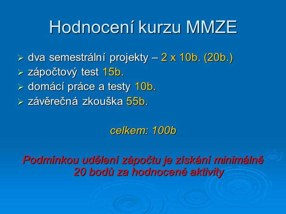 Hodnocení kurzu MMZE dva semestrální projekty – 2 x 10b. (20b.)