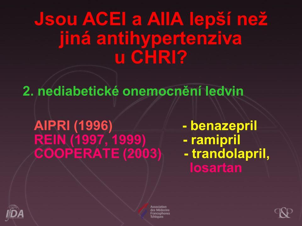 Jsou ACEI a AIIA lepší než jiná antihypertenziva u CHRI