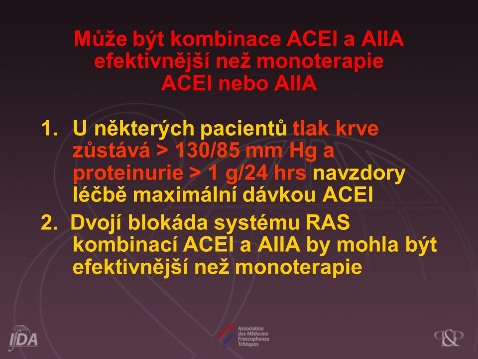 Může být kombinace ACEI a AIIA efektivnější než monoterapie ACEI nebo AIIA