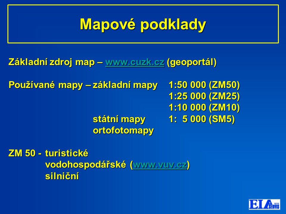 Mapové podklady Základní zdroj map – www.cuzk.cz (geoportál)
