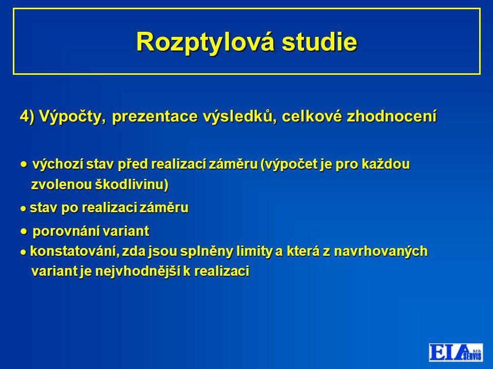 Rozptylová studie 4) Výpočty, prezentace výsledků, celkové zhodnocení