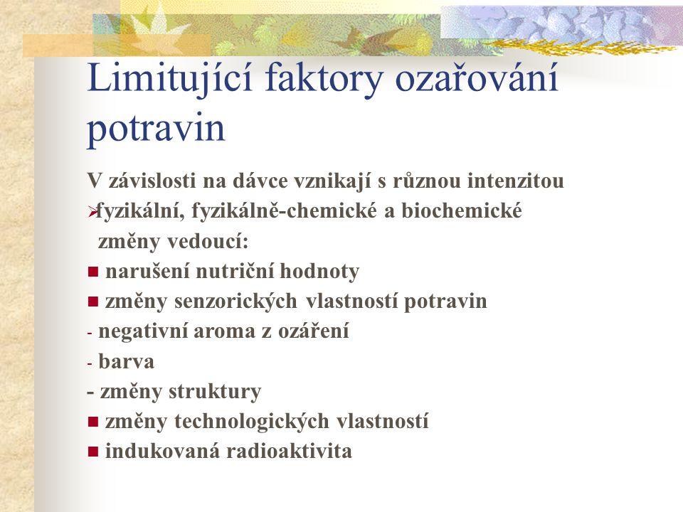 Limitující faktory ozařování potravin
