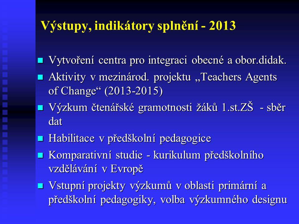 Výstupy, indikátory splnění - 2013