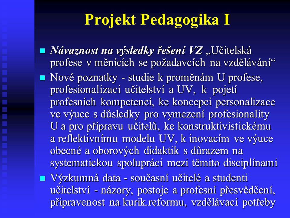 """Projekt Pedagogika I Návaznost na výsledky řešení VZ """"Učitelská profese v měnících se požadavcích na vzdělávání"""