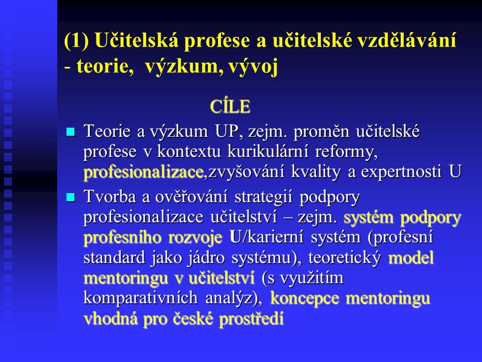 (1) Učitelská profese a učitelské vzdělávání - teorie, výzkum, vývoj