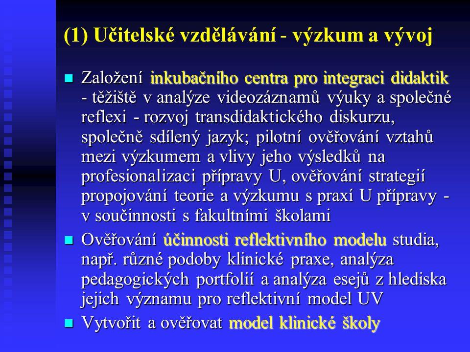 (1) Učitelské vzdělávání - výzkum a vývoj