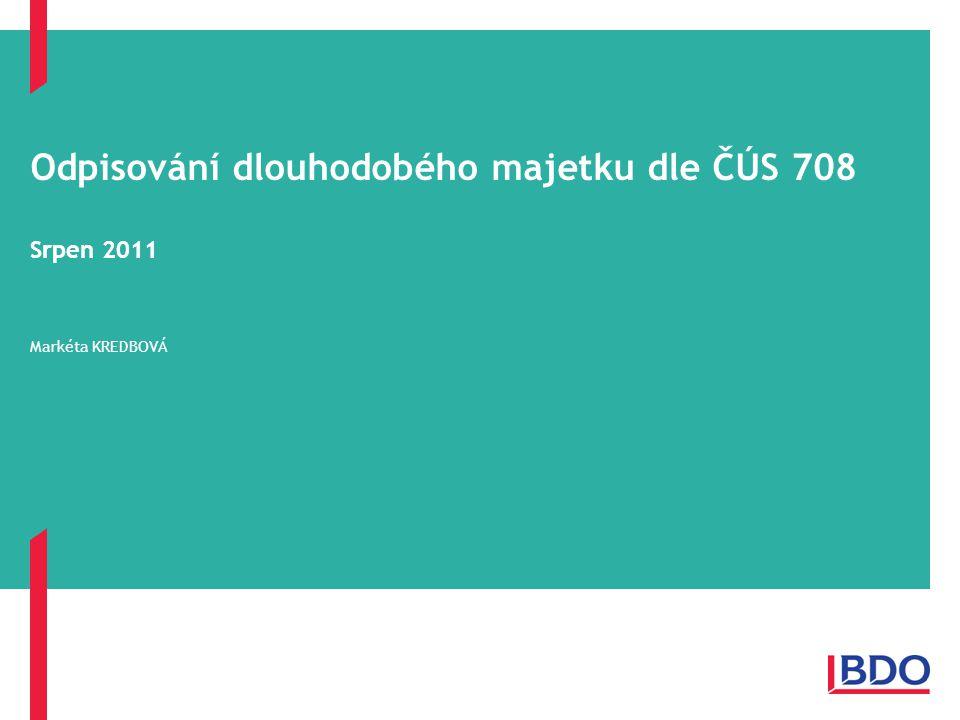 Odpisování dlouhodobého majetku dle ČÚS 708