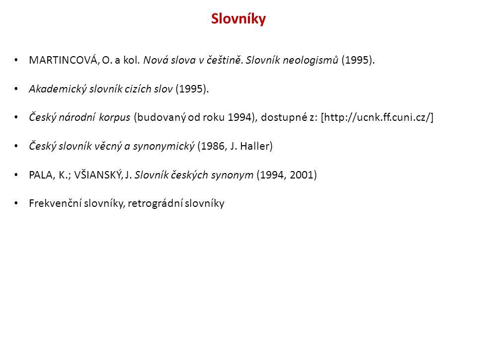Slovníky MARTINCOVÁ, O. a kol. Nová slova v češtině. Slovník neologismů (1995). Akademický slovník cizích slov (1995).