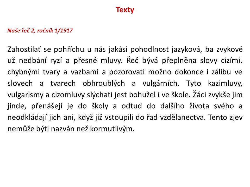 Texty Naše řeč 2, ročník 1/1917.