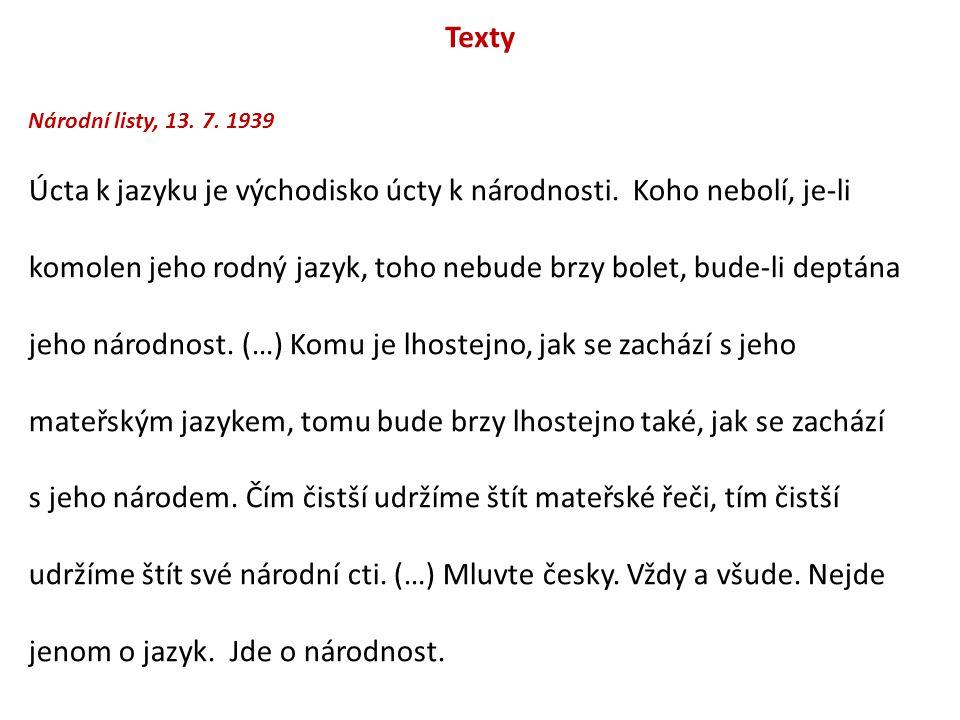 Texty Národní listy, 13. 7. 1939.