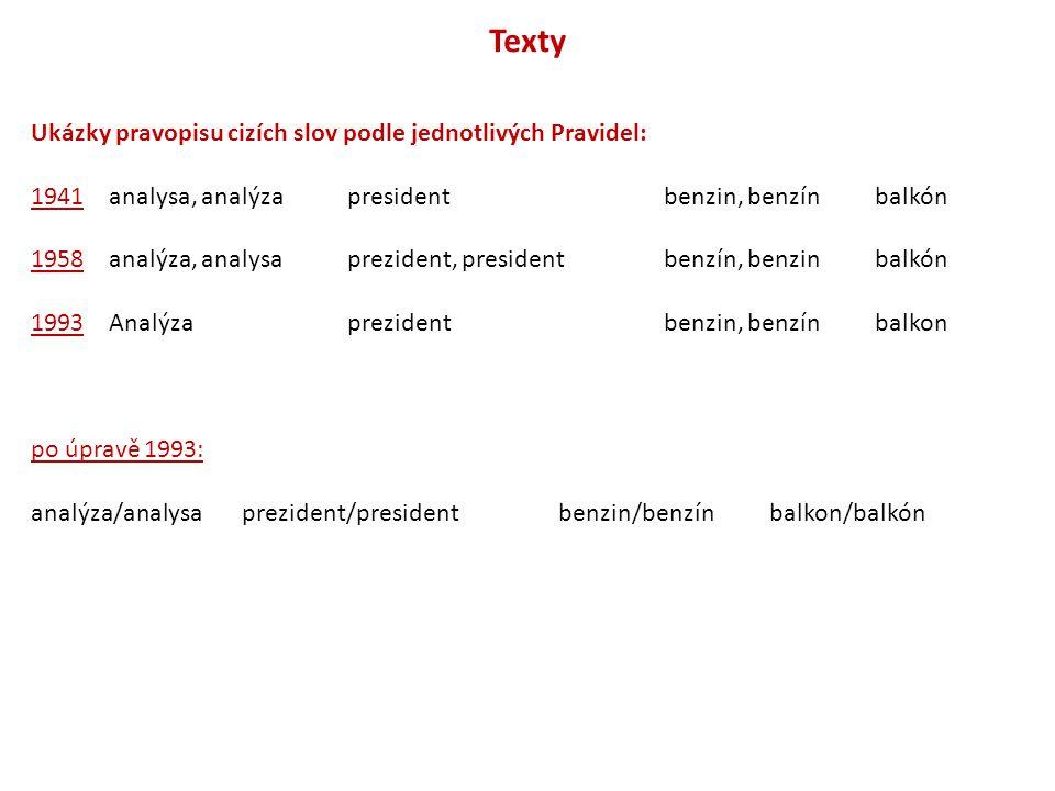 Texty Ukázky pravopisu cizích slov podle jednotlivých Pravidel: