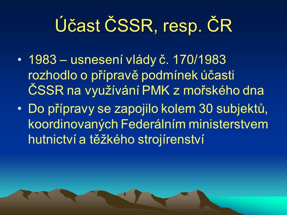 Účast ČSSR, resp. ČR 1983 – usnesení vlády č. 170/1983 rozhodlo o přípravě podmínek účasti ČSSR na využívání PMK z mořského dna.