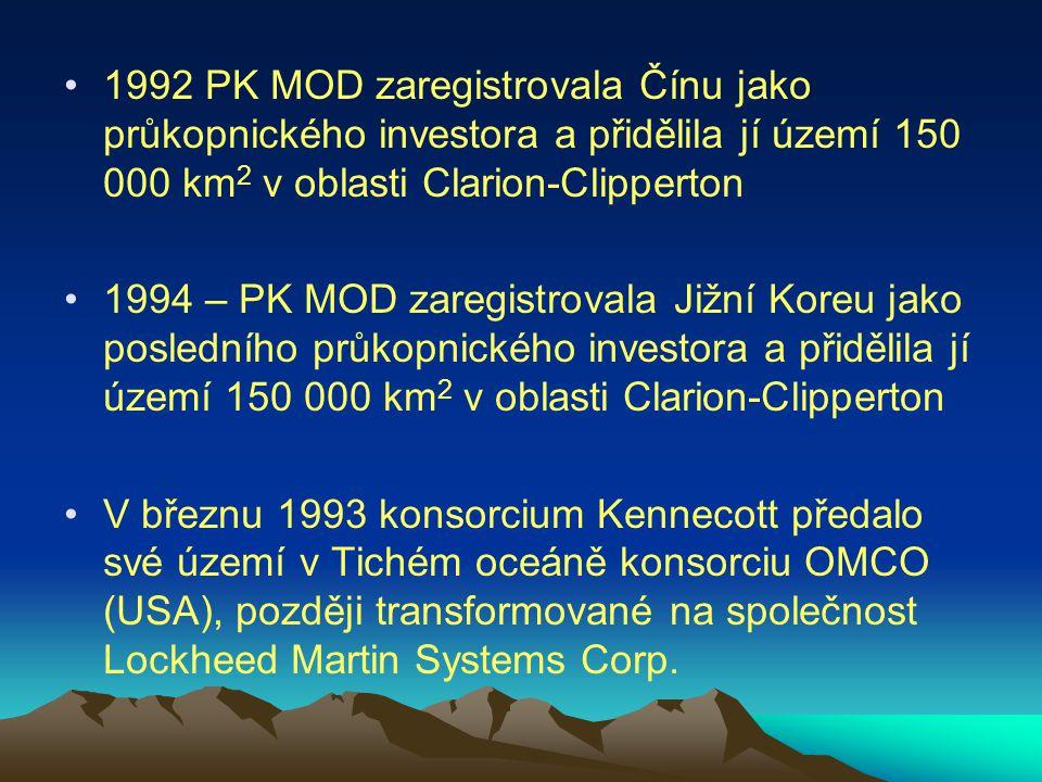 1992 PK MOD zaregistrovala Čínu jako průkopnického investora a přidělila jí území 150 000 km2 v oblasti Clarion-Clipperton