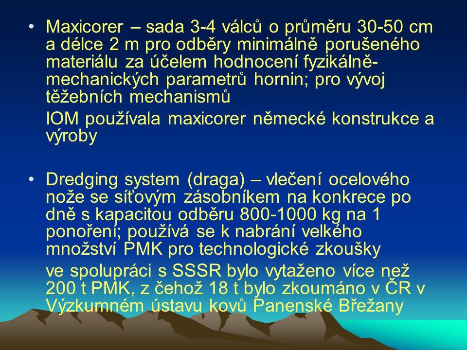 Maxicorer – sada 3-4 válců o průměru 30-50 cm a délce 2 m pro odběry minimálně porušeného materiálu za účelem hodnocení fyzikálně-mechanických parametrů hornin; pro vývoj těžebních mechanismů