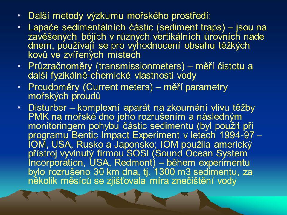 Další metody výzkumu mořského prostředí: