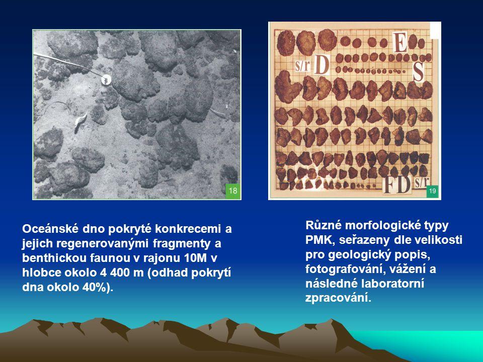 Různé morfologické typy PMK, seřazeny dle velikosti pro geologický popis, fotografování, vážení a následné laboratorní zpracování.