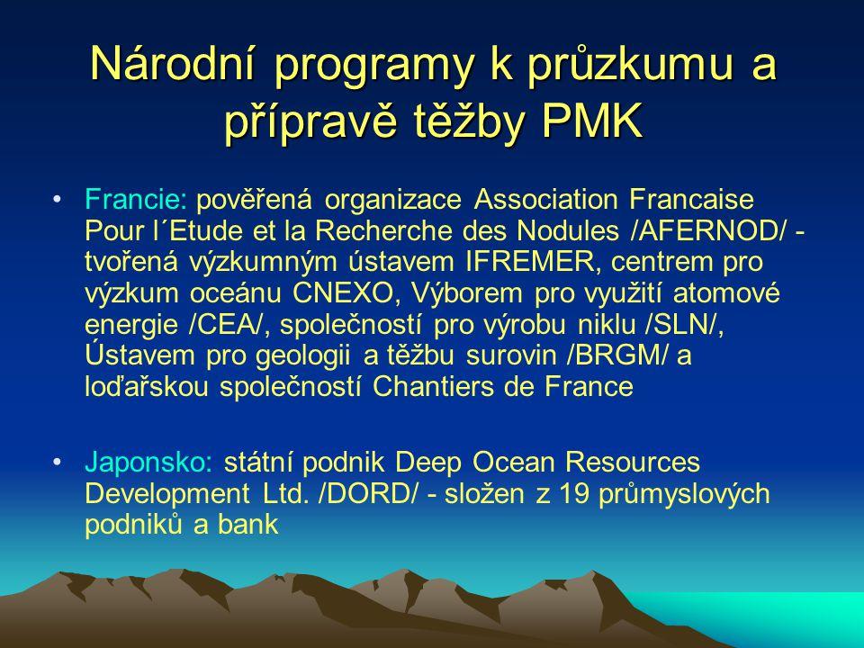 Národní programy k průzkumu a přípravě těžby PMK