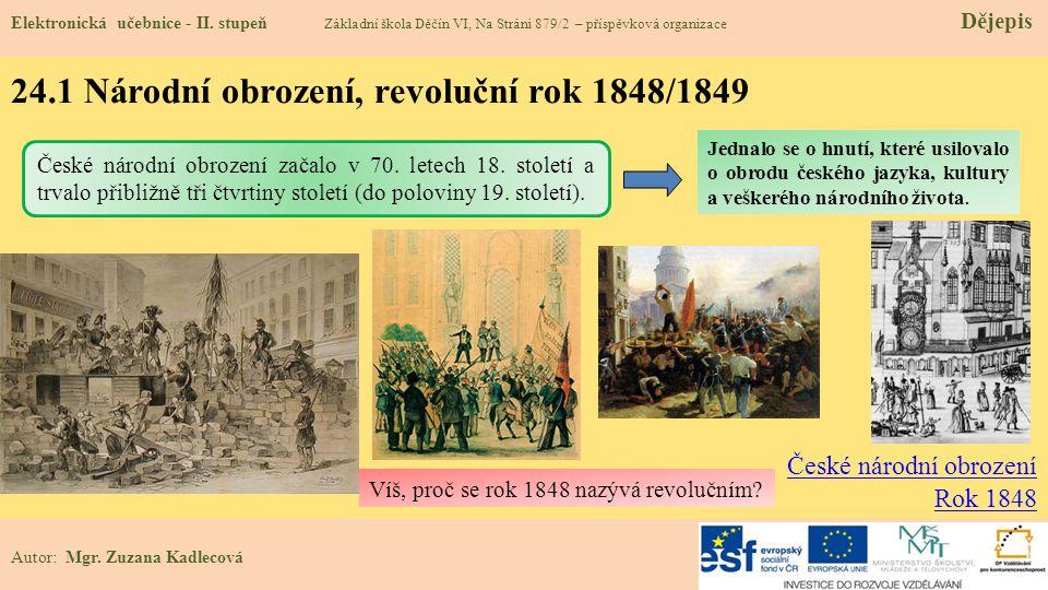 24.1 Národní obrození, revoluční rok 1848/1849