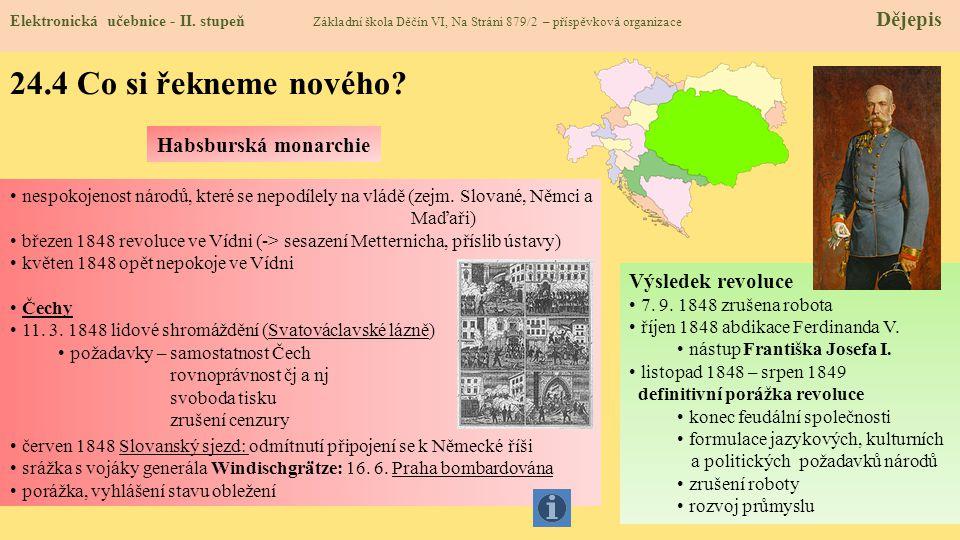 24.4 Co si řekneme nového Habsburská monarchie Výsledek revoluce