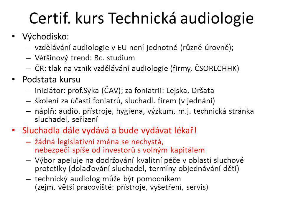 Certif. kurs Technická audiologie