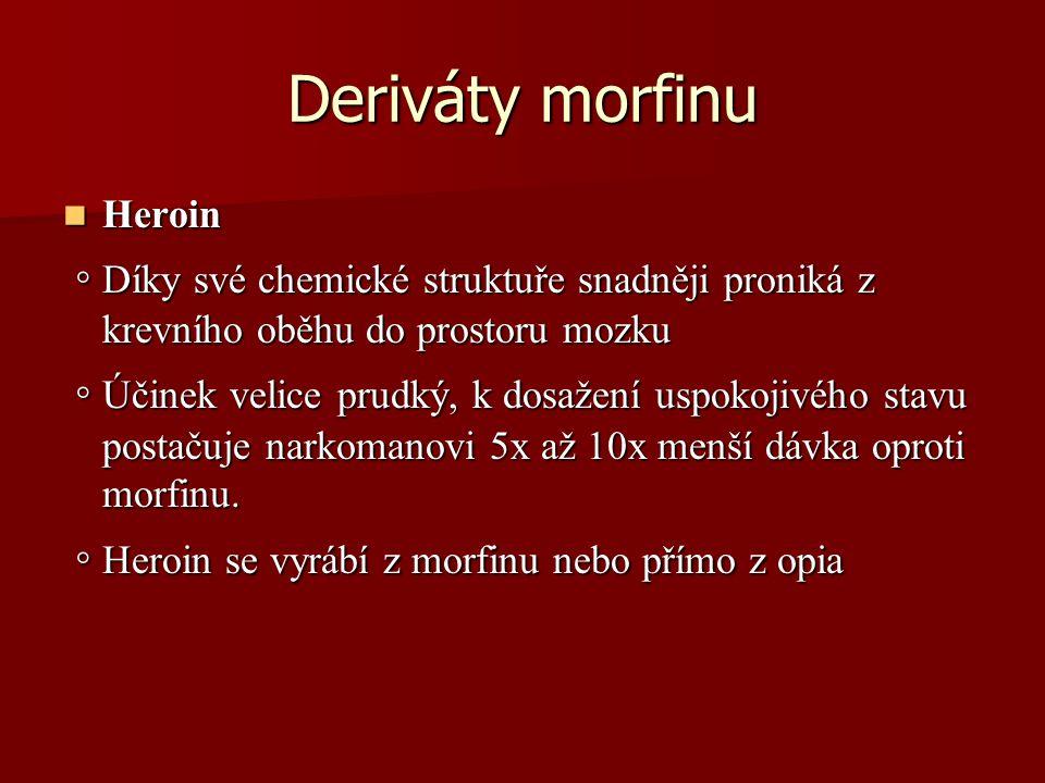 Deriváty morfinu Heroin. ◦ Díky své chemické struktuře snadněji proniká z krevního oběhu do prostoru mozku.