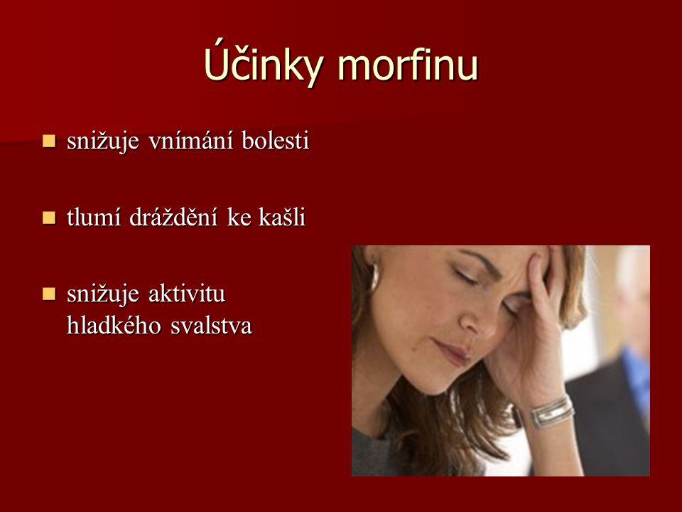 Účinky morfinu snižuje vnímání bolesti tlumí dráždění ke kašli