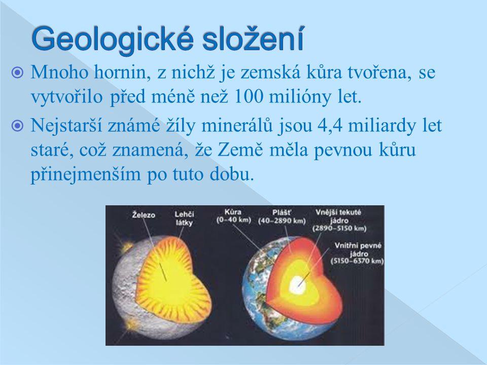 Geologické složení Mnoho hornin, z nichž je zemská kůra tvořena, se vytvořilo před méně než 100 milióny let.