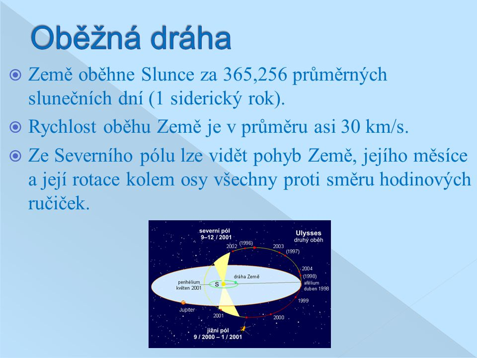 Oběžná dráha Země oběhne Slunce za 365,256 průměrných slunečních dní (1 siderický rok). Rychlost oběhu Země je v průměru asi 30 km/s.