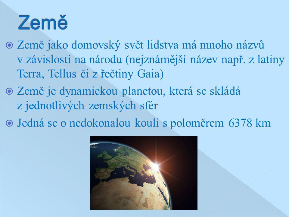 Země Země jako domovský svět lidstva má mnoho názvů v závislosti na národu (nejznámější název např. z latiny Terra, Tellus či z řečtiny Gaia)