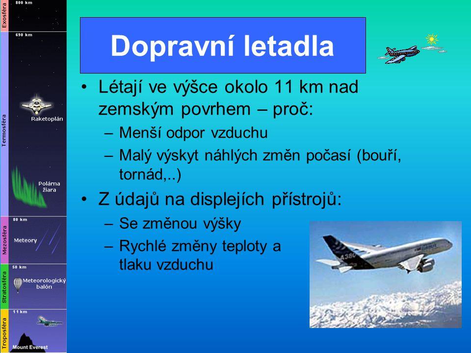 Dopravní letadla Létají ve výšce okolo 11 km nad zemským povrhem – proč: Menší odpor vzduchu. Malý výskyt náhlých změn počasí (bouří, tornád,..)