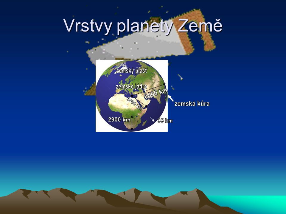 Vrstvy planety Země zemský plášť zemské jádro 6400 km 3500 km