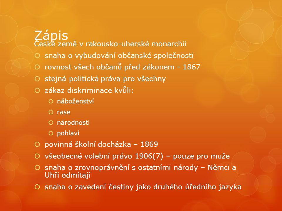Zápis České země v rakousko-uherské monarchii