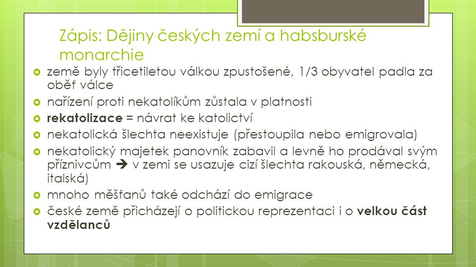 Zápis: Dějiny českých zemí a habsburské monarchie