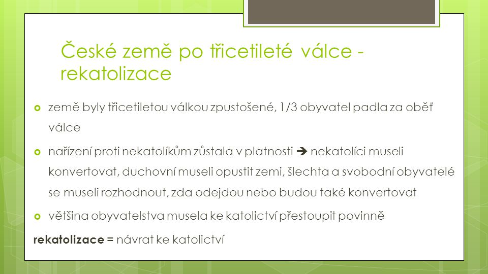 České země po třicetileté válce - rekatolizace