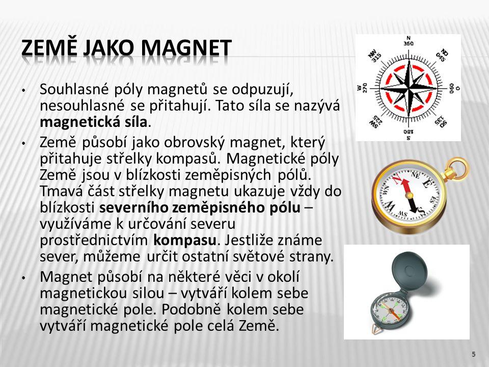 Země jako magnet Souhlasné póly magnetů se odpuzují, nesouhlasné se přitahují. Tato síla se nazývá magnetická síla.
