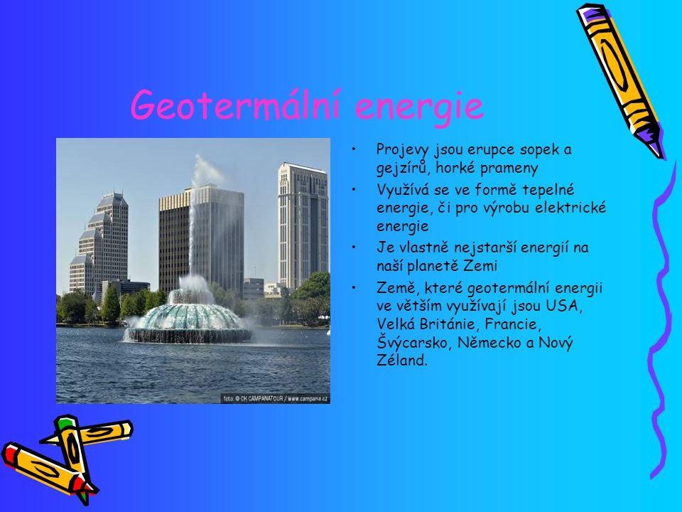 Geotermální energie Projevy jsou erupce sopek a gejzírů, horké prameny