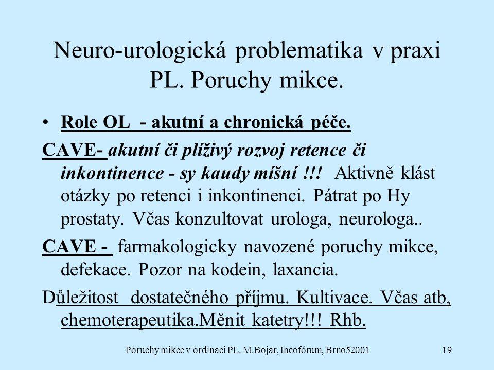 Neuro-urologická problematika v praxi PL. Poruchy mikce.