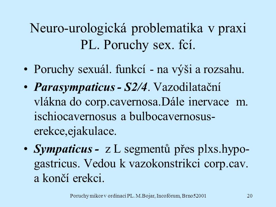 Neuro-urologická problematika v praxi PL. Poruchy sex. fcí.