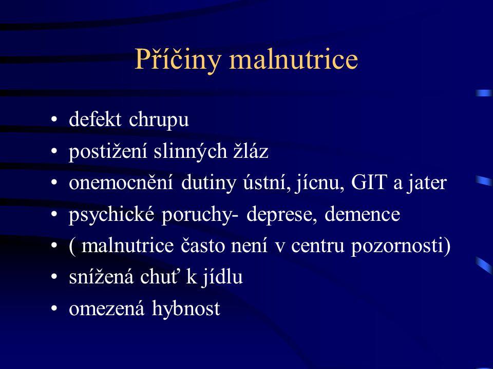 Příčiny malnutrice defekt chrupu postižení slinných žláz