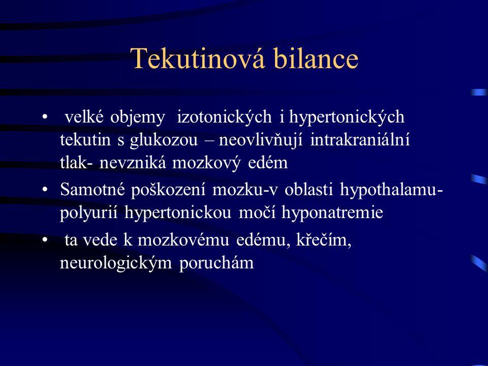 Tekutinová bilance velké objemy izotonických i hypertonických tekutin s glukozou – neovlivňují intrakraniální tlak- nevzniká mozkový edém.