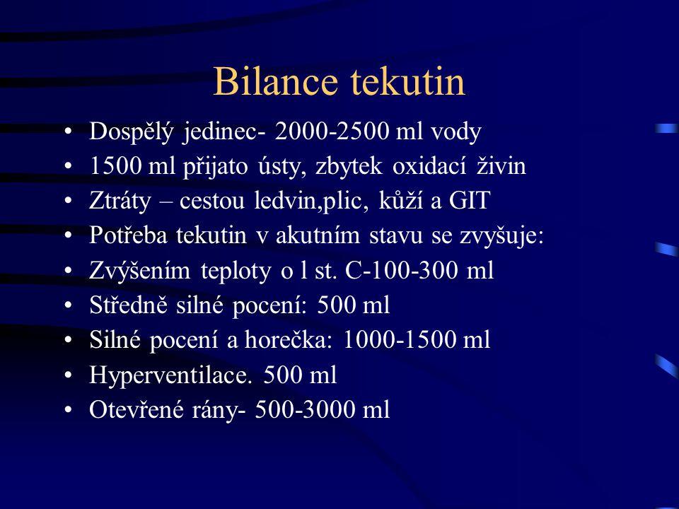 Bilance tekutin Dospělý jedinec- 2000-2500 ml vody