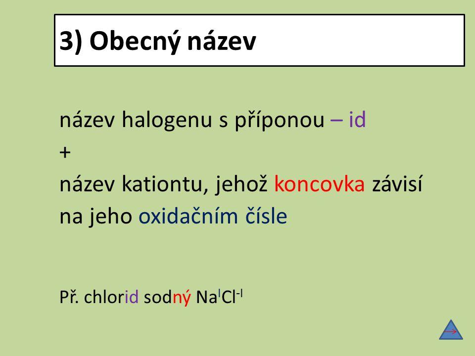 3) Obecný název název halogenu s příponou – id +
