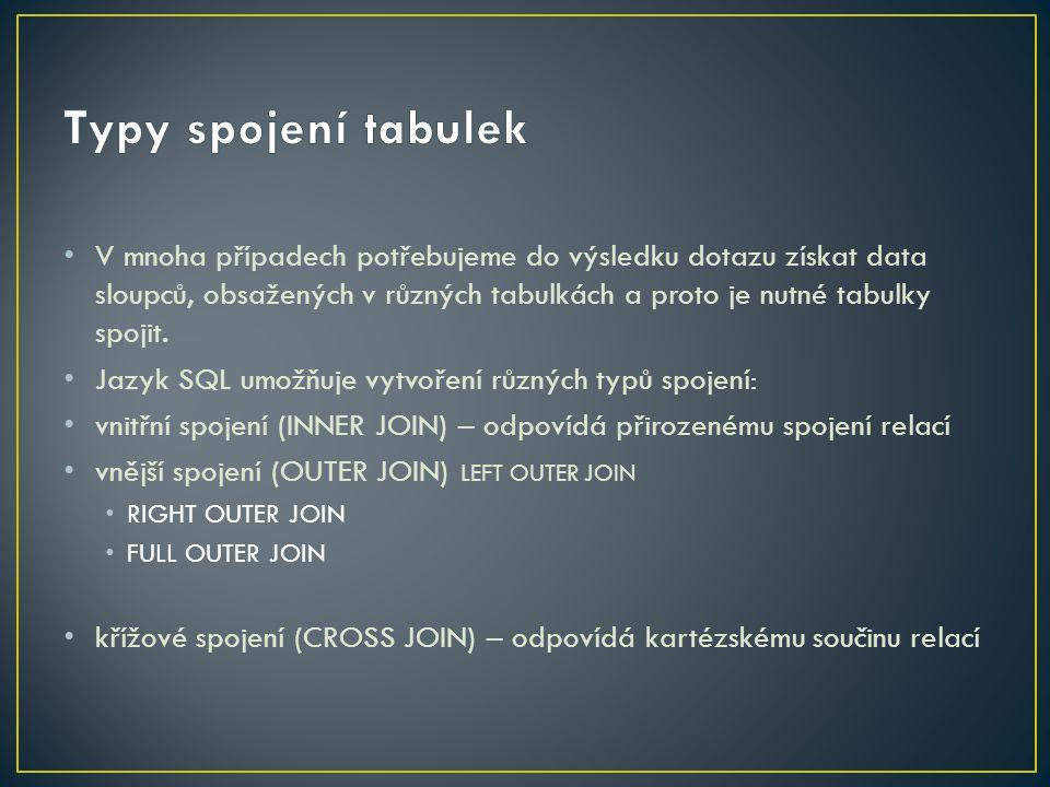 Typy spojení tabulek