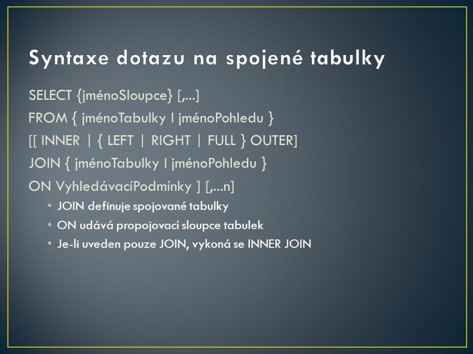 Syntaxe dotazu na spojené tabulky